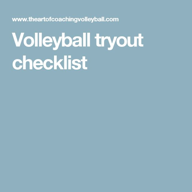 Volleyball tryout checklist