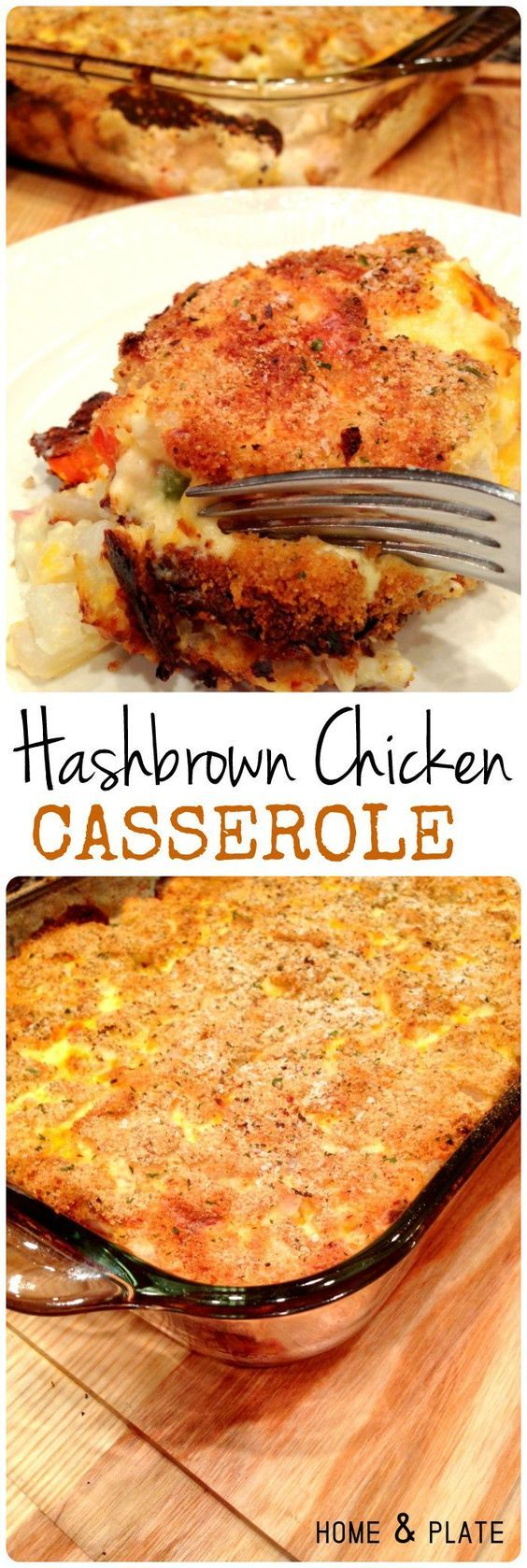Hash Brown Chicken Casserole | Home & Plate | www.homeandplate.com | This casserole has tender bits of roasted chicken breast, hash brown potatoes, shredded cheddar cheese and your favorite mixed vegetables.