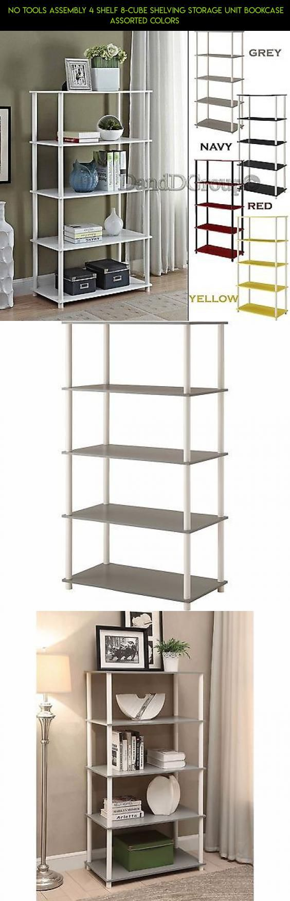 No Tools Assembly 4 Shelf 8 Cube Shelving Storage Unit Bookcase ASSORTED  COLORS #cube