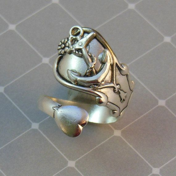 Cool Anchor Spoon Ring Heart Sorority Bridesmaid Wedding Party Nautical Gift