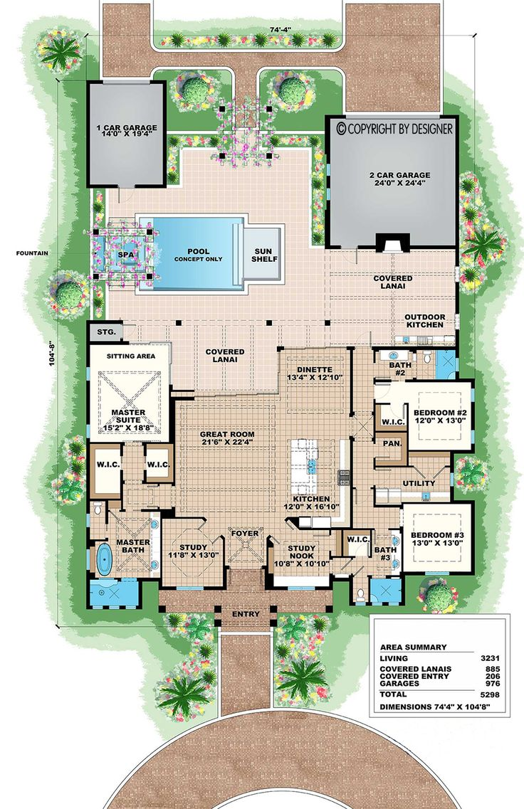 Olde Florida House Plan #021319 offered by Distinctive House Plans