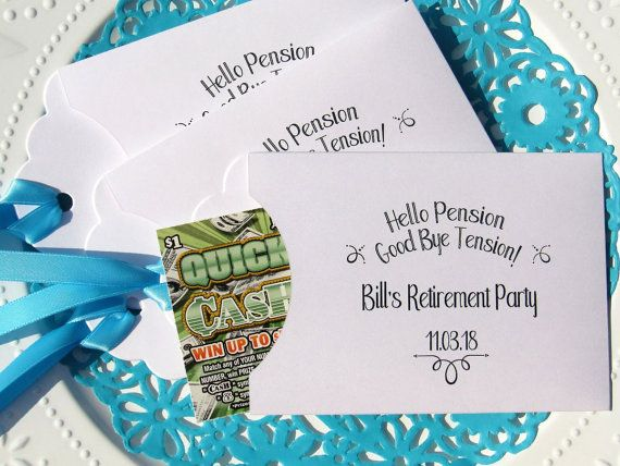 Personalized lottery ticket holders, perfect retirement party favors! Give your guests a lucky scratch off lotto ticket and a chance to be a winner, personalized for that special retirement party. Lottery ticket holders measure 6 x 3 1/2 wide and come fully assembled with ribbon attached. Your choice of envelope and ribbon color, see additional photos for selection. Lottery tickets are NOT included. ORDERING;  This listing is for 25 retirement favors, to order more please use the drop d...