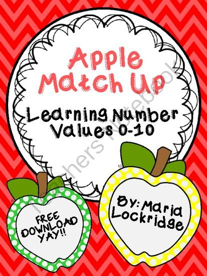 Apple Match Up: Learning Number Values 0-10 from Maria Lockridge on TeachersNotebook.com -  (10 pages)  - FREE GAME: Apple Match Up: Learning Number Values 0-10