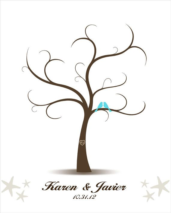 Wedding Tree Guest Boo- Printable PDF File- Beach Wedding - Digital Fingerprint Tree with Starfish - Custom color, size, text and language