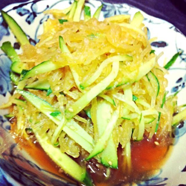 ほぐすのが楽しいー(◍•ᴗ•◍) - 10件のもぐもぐ - そうめんかぼちゃの中華サラダ by saayuone