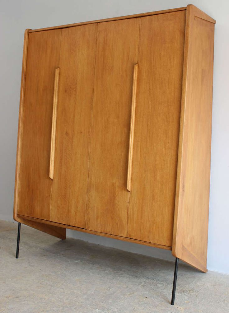 Anonymous; Beech and Enameled Metal Wardrobe, 1950s. Some attribute it to Gio Ponti, but I think it's more likely Claude Vassal.