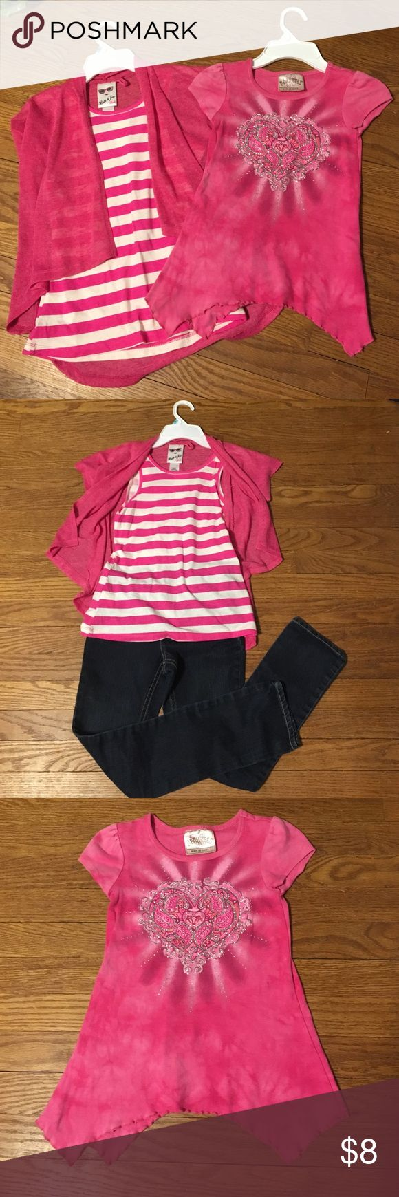 2 pink tops Pink, light sweater with striped tank underneath. Size girls medium.  They can be worn separate or together. Second top is an embellished heart with silver accents. Size 6X Shirts & Tops Tees - Short Sleeve