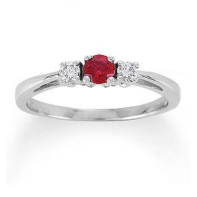 Shane Co. 1/3 ct. t.w. Round Ruby and Diamond Three-Stone Ring. This three-stone ring combines one luscious round center ruby at approximately .17 carat with two round diamonds at approximately .11 carat TW. The total gem weight is approximately .28 carat. The stones are set in a classic 14 karat white gold setting.