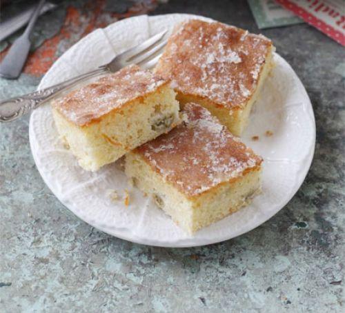 Gooseberry & orange drizzle cake