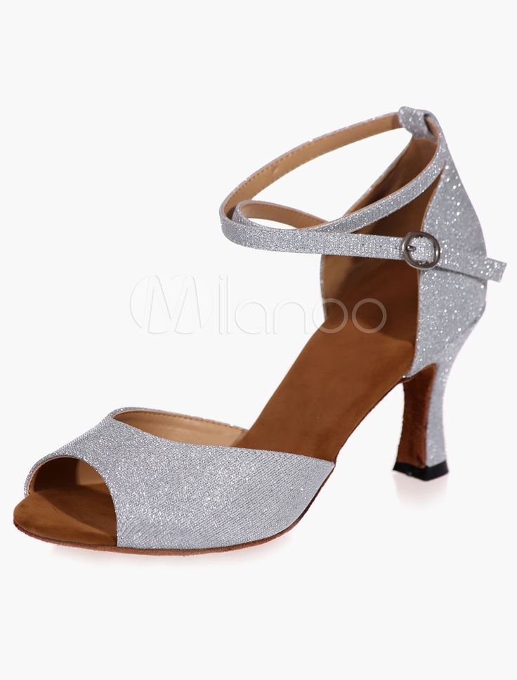 Onfly New Souliers latins féminins Paillettes scintillantes Sandale Chaussures de salle de bal/Performance de talon/professionnel strass/paillettes eu size (Couleur : UNE, Taille : 34)