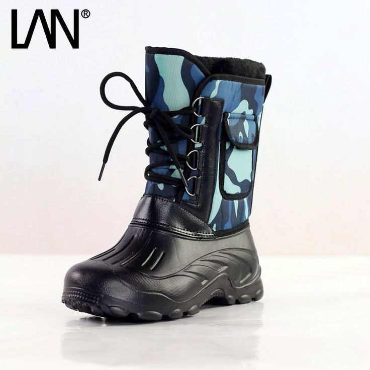 Fashion 2016 Men Snow Boots Warm Lace Up Men Fishing Boots Waterpoof Casual Male Wore Safety Boots Shoes