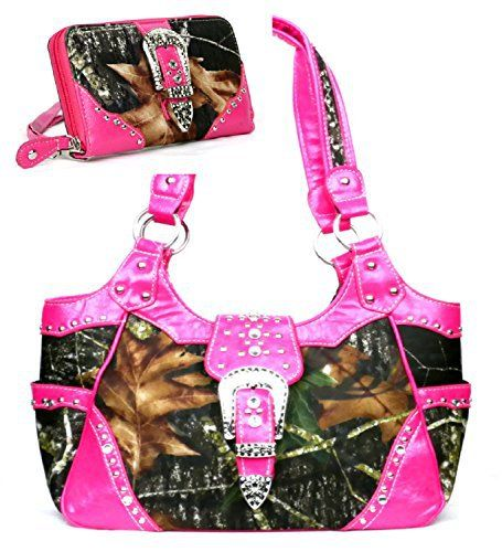 Western Pink Camouflage Buckle Concealed Purse W Matching Wallet - Handbags, Bling & More!