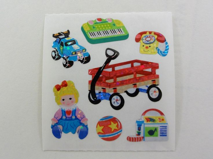 Sandylion Kids Toys Wagon Glitter Sticker Sheet / Module - Vintage & Collectible