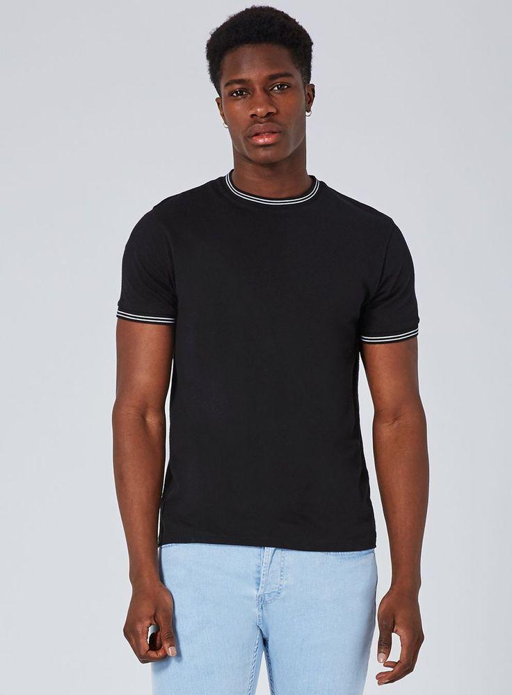 Black Muscle Fit Ringer T-Shirt
