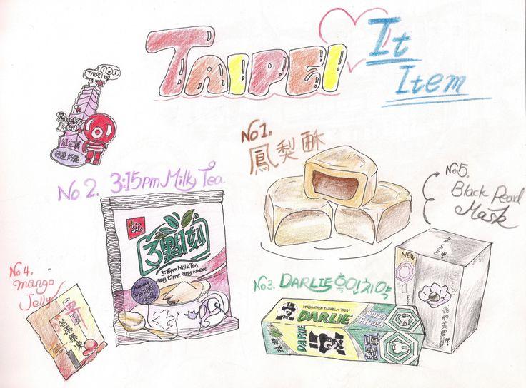 Taiwan It Item.  watercolor pencils, pen