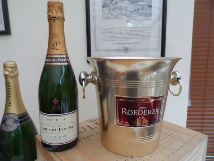 French Louis Roederer champagne in gold aluminium ice/champagne bucket circa 1980 with ring handles Brushed Gold Finish by VintageFoggy on Etsy