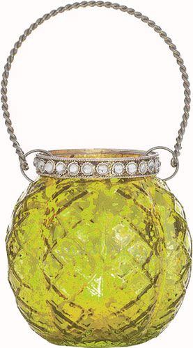 Chartreuse Green Mercury Glass Hanging Candle holder