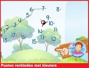 Punten verbinden met kleuters op digibord of computer op kleuteridee - Kindergarten online block area for IBW or computer