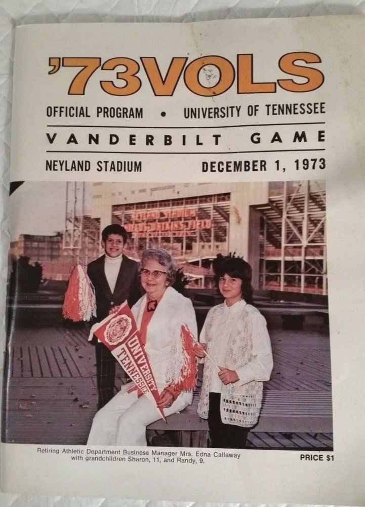 1973 Tennessee vs Vanderbilt Official Football Game Program 12 1 73 Knoxville | eBay #Vols #Vandy #NeylandStadium