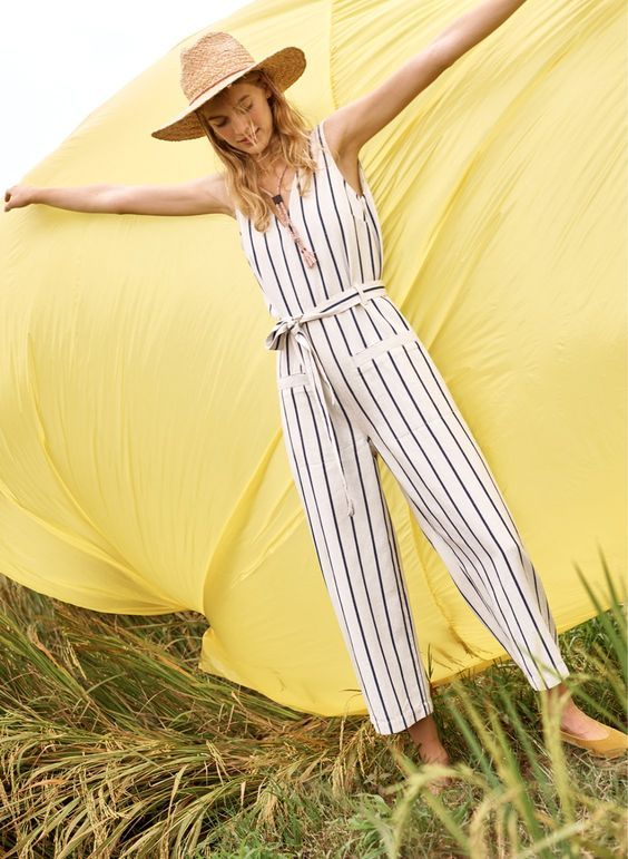 9b9e6d4c4d9 striped pull-on jumpsuit in Marta Stripe