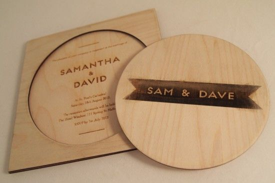 Laser cut wooden invite. Classic Wedding Invitations (Australia)