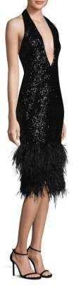 """MILLY Amelia Party  Dress. Glitz and glam party dress with allover sequins. Plunging halter neckline. Sleeveless. Concealed back zip. Fitted silhouette.V-back. About 40"""" from neck to hem. Polyester. Dry clean. Made in USA. #partydress #womensfashion"""