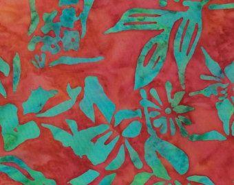 Bamboo Leaf Batik Fabric Artisan Indonesian by FeatheredNest97030