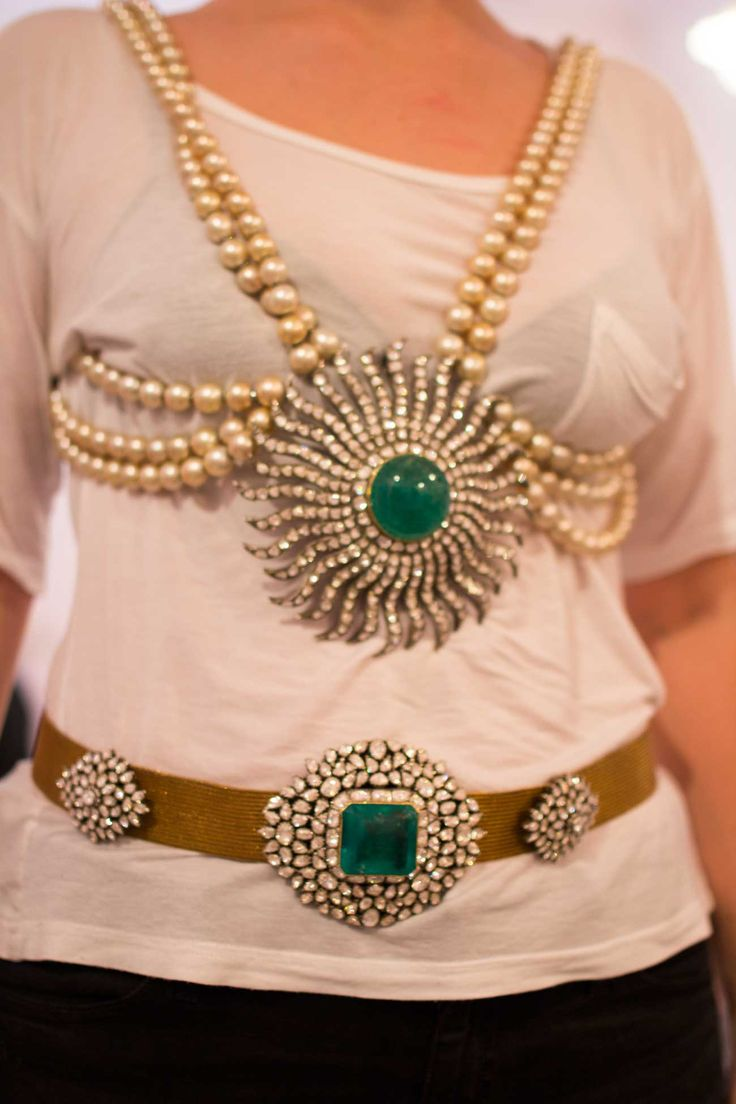 Munnu's Pearl, Emerald and Diamond Matching Belt and Necklace, Gem Palace, Jaipur, India, jewelry