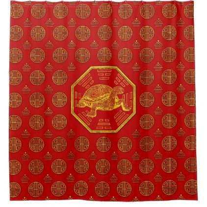 Golden Tortoise / Turtle Feng Shui on red Shower Curtain - shower curtains home decor custom idea personalize bathroom
