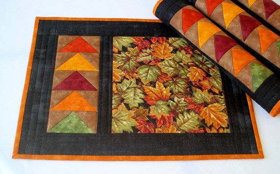 Fall Placemats  Quilted Placemats  Autumn Table by RedNeedleQuilts