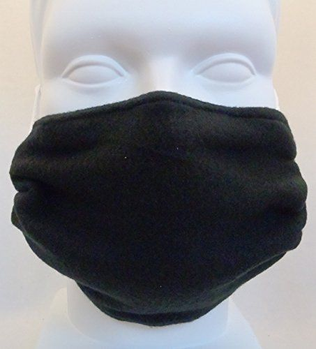 Fleece Double Layer Cold Weather Face Mask  Black  Reversible * You can get additional details at the image link.