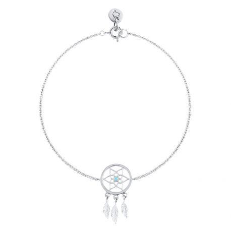 Bracelet chaîne attrape rêve en argent en vente sur L'Atelier d'Amaya, bijoux en argent ou plaqué or pour femme, homme et enfant.