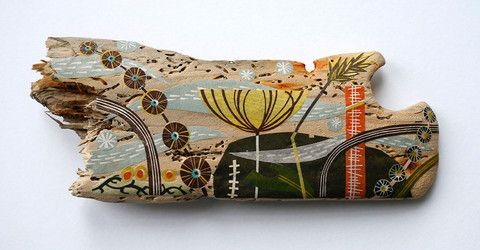 Windswept Shore - Angie Lewin - collage