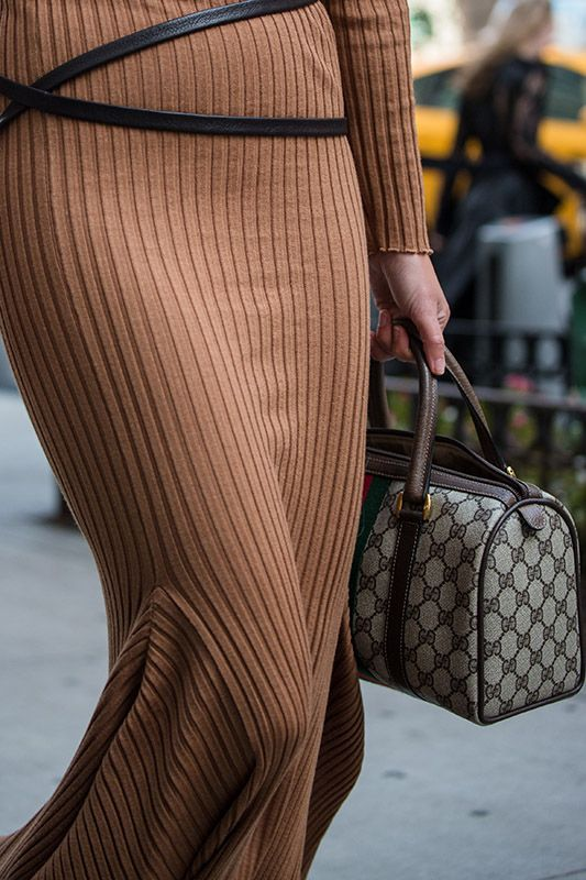 SS16 streetstyle details  Brown long polo-neck dress Gucci bag