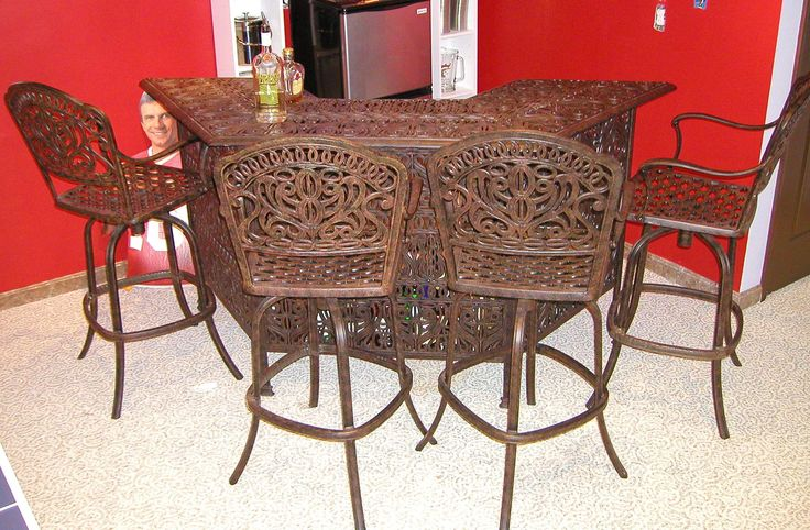 Antique Black Polished Wrought Iron Bar Stools With Arms And ...