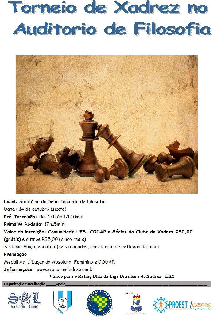Olá Enxadristas Universitários e Comunidades,   Convidando a todos para participarem do Torneio de Xadrez no Auditório de Filosofia, di...