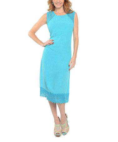 Love this Turquoise Lace-Trim Sleeveless Dress - Plus Too on #zulily! #zulilyfinds