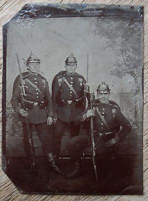 c 1865 Studio Photo TINTYPE German PRUSSIAN ARMY SOLDIERS Rifle Bayonets HELMETS