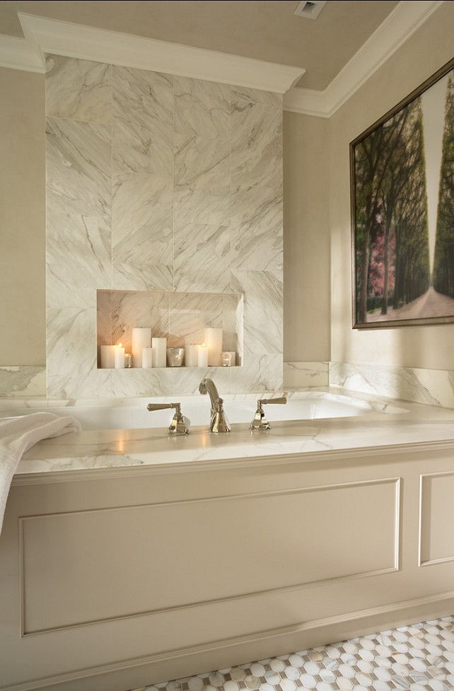 Bathroom Tub #Bathroom  LOOKS LIKE A FIREPLACE-ADDS INTEREST.