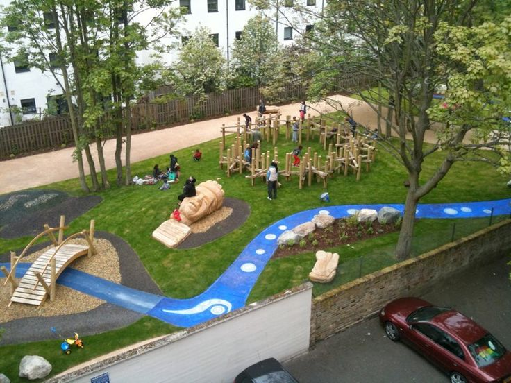 Pocket Park In Addition To The Climbing Structure Blue Stream Provides