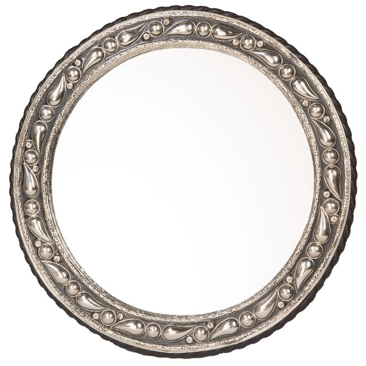 An ornate, hand-worked metal accent distinguishes this mirror from your other home decor. A sturdy wood base makes this mirror sturdy, and the distressed black lacquer gives it vintage style.
