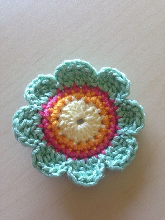 Sherbet #Crochet flower hair clip