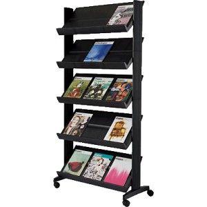 Expositor con capacidad por estante de hasta 3 documentos A4. Estructura de metal. Acepta todos los formatos de documentos.