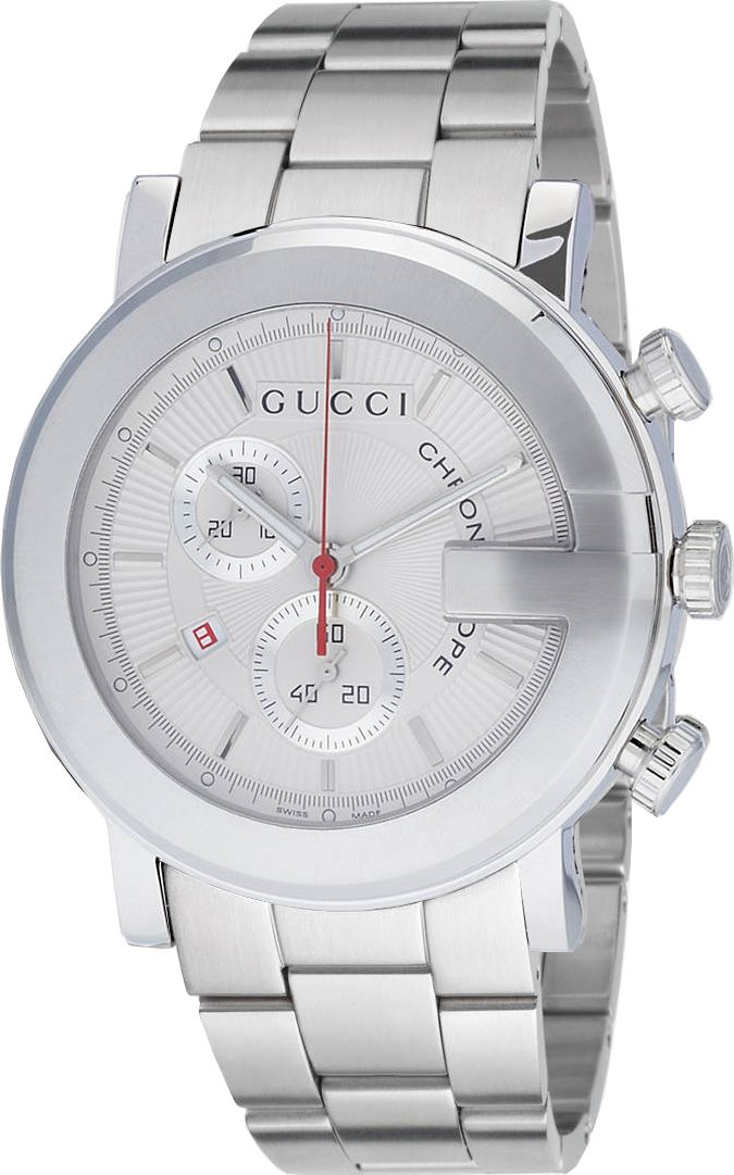 YA101339 Gucci 100 G Chrono Mens Quartz Silver Dial Watch