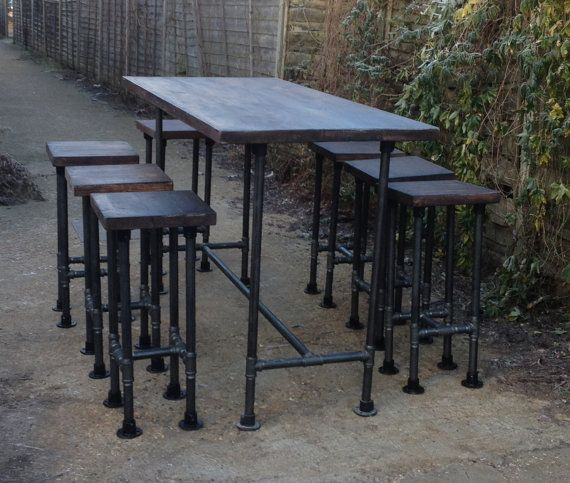 High Gas Pipe Bar Table This impressive industrial style table is produced using 33.7mm mild steel gas pipe. The table top is produced from 44mm (2PAR)