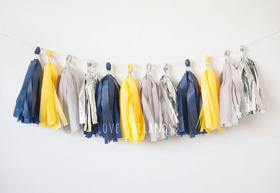 Lets celebrate with the Navy Yellow Grey Silver tissue tassel garland!  This tissue tassel garland is great for: weddings bridal showers birthday parties baby showers gender reveal home decor nursery or childrens room dorm decor photo backdrop and much more!  This tassel garland is handmade with love using tissue paper. The garland comes ready to hang at 8 feet long when tassels are spread apart evenly. Tassels can be easily moved along the twine to provide a sparser or fuller look depending…
