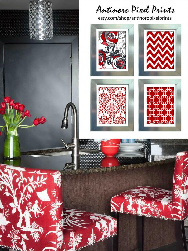 Red Grey Black White Greys Unframed Kitchen Utensils Art Collection  -Set of (4) - 5x7 Prints. $35.00, via Etsy.