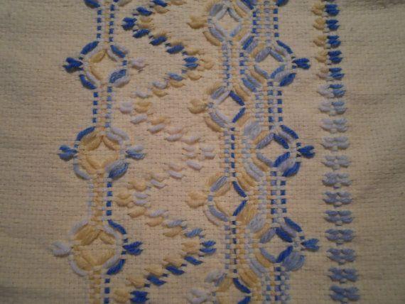 Pastel Yellow Swedish Weave Table Runner by NeenersWeaving on Etsy, 30.00