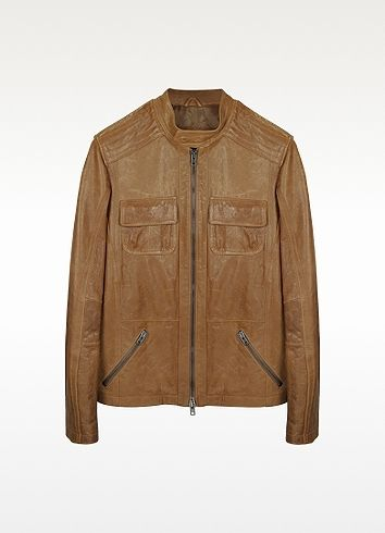 $1,300, Light Brown Leather Motorcycle Jacket by Forzieri. Sold by Forzieri. Click for more info: http://lookastic.com/men/shop_items/17546/redirect