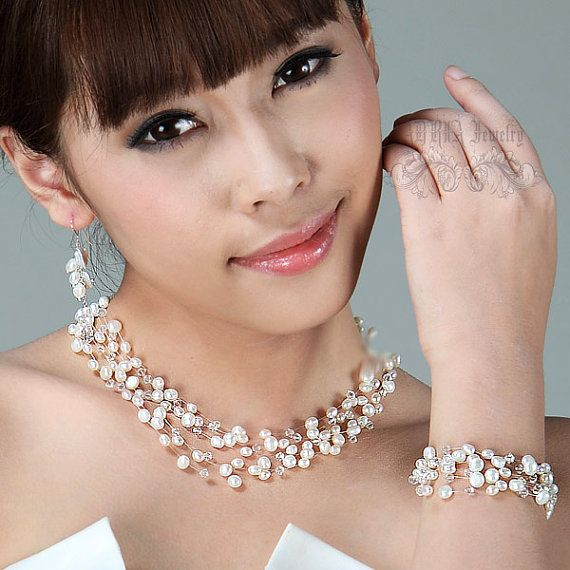 Floating Pearl Bridal Jewelry Set, White  Fresh Water Pearls Multistrands Pearls Silver Wedding jewellery Set - Necklace Bracelet Earrings on Etsy, $134.00